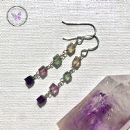 Fluorite Cube Dangle Earrings